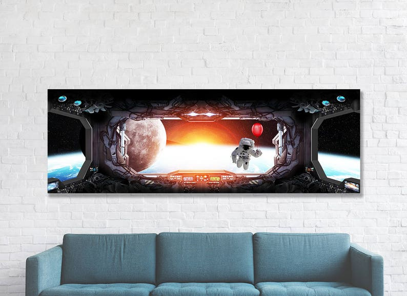Space Station Mission Control Canvas Wall Art, Space Man Earth With Red  Balloon, Sci-Fi, NASA Style Art, NASA, Galaxy