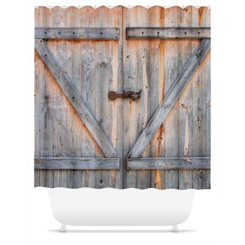 Old Barn Door Shower Curtain Country Farm Decor