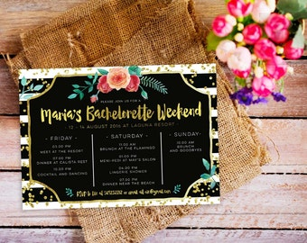 Bachelorette Weekend Invitation Itinerary Party Timeline Gold