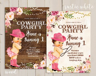 Country invitation etsy pink shabby cowgirl birthday invitation country cowgirl invitation cowgirl first birthday invitation rustic cowgirl birthday invitations filmwisefo