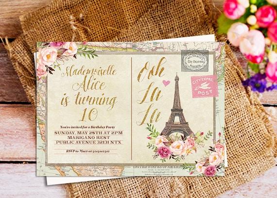 Paris Vintage Postcard Birthday Invitation
