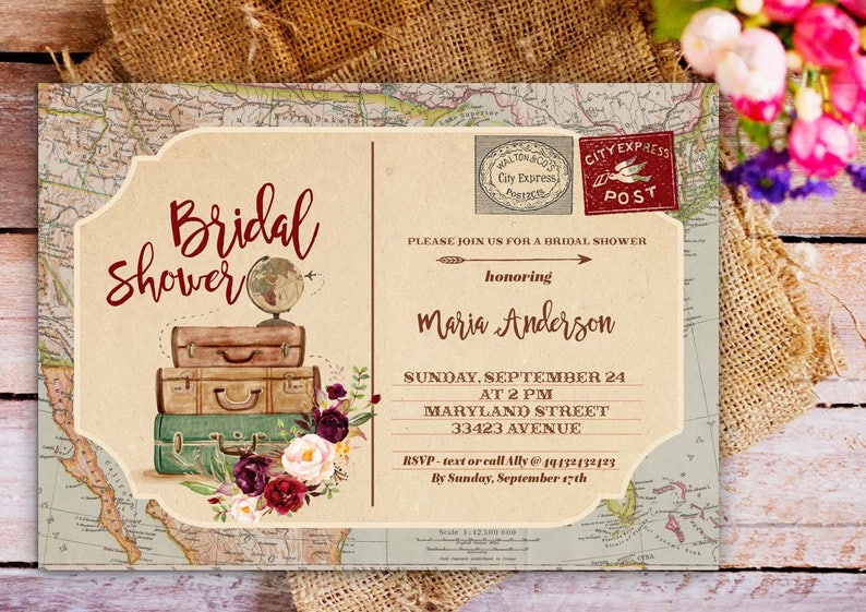 2df1aeee0aa Luggage Bridal Shower Invitation Traveling bridal shower