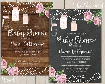 rustic mason jar baby shower invite, hanging mason jar baby shower invitation, chalkboard baby shower rustic invitation, rose floral invite