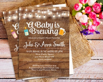 A Baby is Brewing Invitation, co ed baby shower invite, Beer and Babies Party Invitation, beer baby shower invitations, Brewing Baby Shower