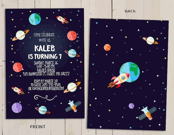 Planet Birthday Invitation Outer Space Theme Birthday Etsy