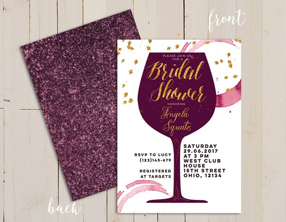 wine themed bridal shower invitation wine themed invitation etsy
