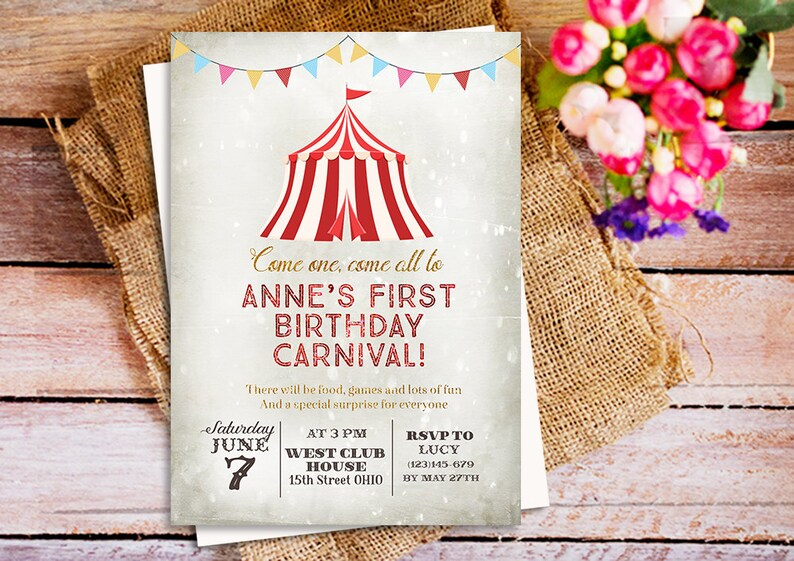Carnival Themed Party Invitation Birthday Circus Vintage Kids