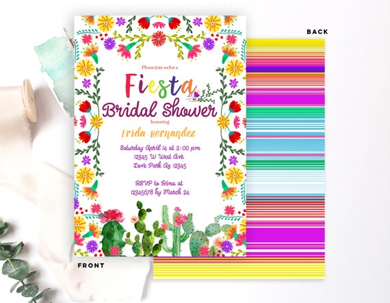 Fiesta Bridal Shower Invitation Mexican Party