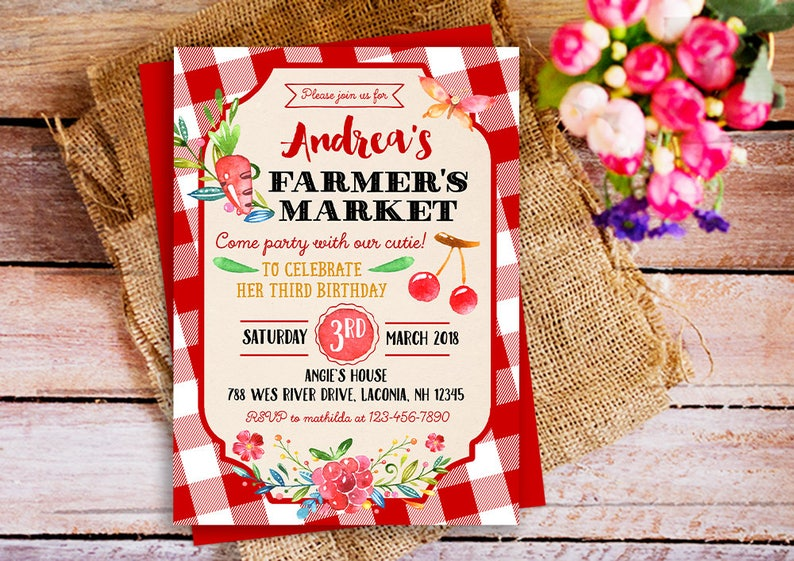 Farmers Market Birthday Party Invitation Country Farm