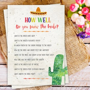 Cactus Games party Bridal Shower Games Fiesta Cactus bridal shower games How well do you know the bride Fiesta Bridal Shower Games Set