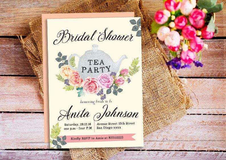 f1c24843ec8 Bridal shower Tea Party Invitation Tea Party Invite tea