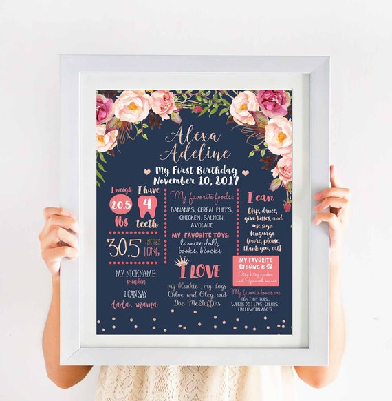 Rose Gold Floral Birthday Milestone Poster Navy Blue First Etsy