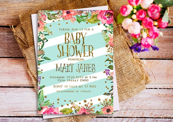 Mint And Pink Baby Shower Invitations Mint Printable Baby Etsy