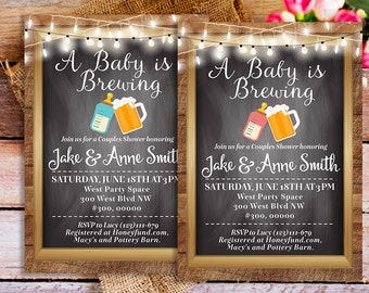 A Baby is Brewing Couples Baby Shower Invitation Printable, A Baby is Brewing Invites, Beer Baby Shower Invitation, Beer co ed baby shower
