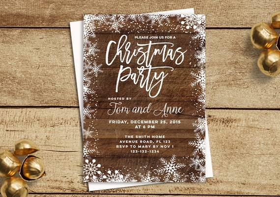Weihnachten-Party-Einladungen rustikale Weihnachten feiern | Etsy