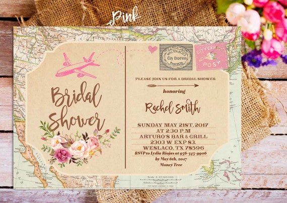 Postcard bridal shower invitation traveling bridal shower etsy image 0 filmwisefo