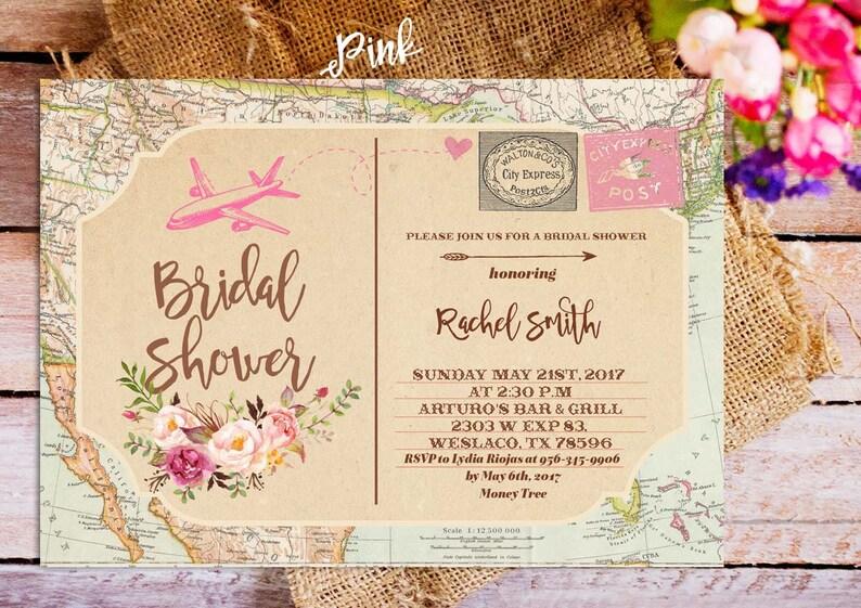 0464651d1e68 Postcard Bridal Shower Invitation Traveling Bridal Shower