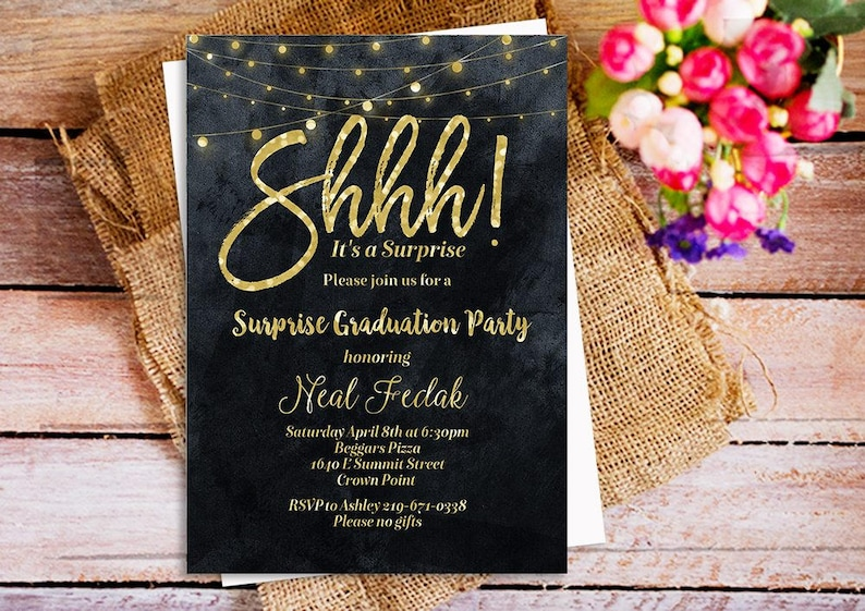 Shhh Its A Surprise Party Invitation Gold Glitter Black And White Invitations Birthday String Light