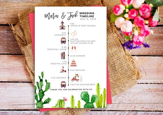 diy wedding program wedding ceremony schedule timeline etsy