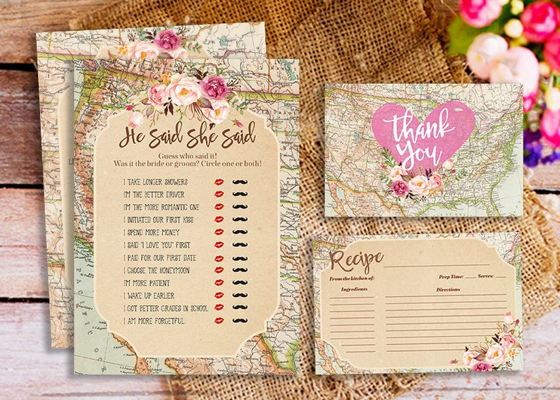 618f3a951b0 Map Bridal Shower Game pack around the world bridal shower