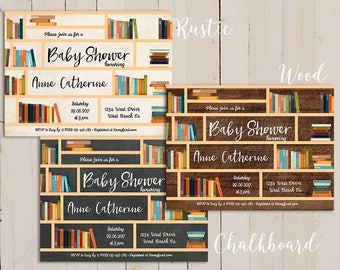 book themed baby shower, Story Book Baby Shower Invitation, library baby shower invitation, Library Card Invitations, Build A Library