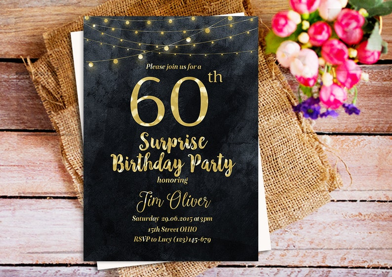 Chalkboard 60 Surprise Birthday Party Invitation Gold