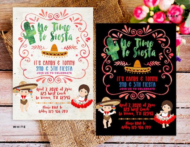 Sibling Birthday Invitation Cactus Fiesta Combined Birthday Invite