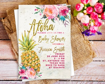 Pineapple Baby Shower Invitation Girl, party like pineapple, aloha pineapple invitation baby shower girl, gold pink pineapple party, luau