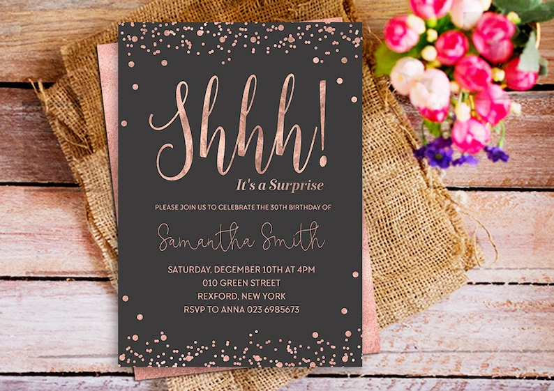 Shhh Its A Surprise Party Birthday Invitation Rose Gold