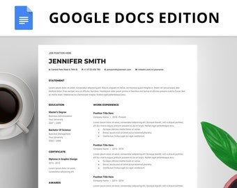 Resume Google Docs, Resume Template Google Docs, Creative Resume Template, Professional Resume, CV Template, Cover Letter, Instant Download