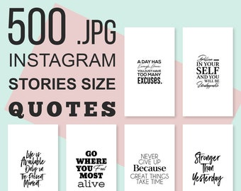 500 Instagram Stories Quotes Bundle, Instagram Sories Template, Motivational Quotes, Inspirational Quotes, Typography Quotes