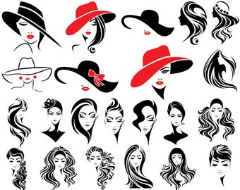 Woman SVG, Hat SVG, Lashes SVG, Eyelash Svg, Head, Face, Female, Hair, Fashion, For Cricut, For Silhouette, Cut File, Png, Dxf