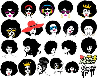 Afro Woman SVG, Afro Girl Svg, Afro Queen Svg, Girl Power Svg, Afro Lady, Curly Hair Svg, Black Woman, For Cricut, For Silhouette, Cut File