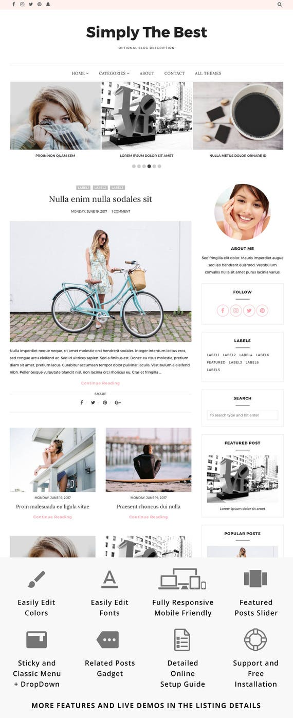 Responsive Blogger Template Blogger Theme Minimal Blog Etsy