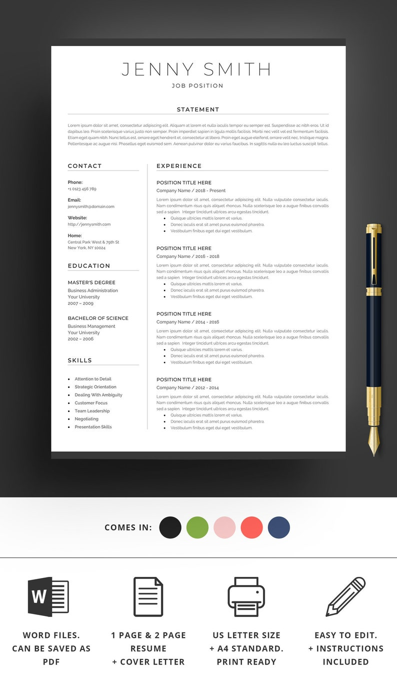 96 1 Page Resume Template Word