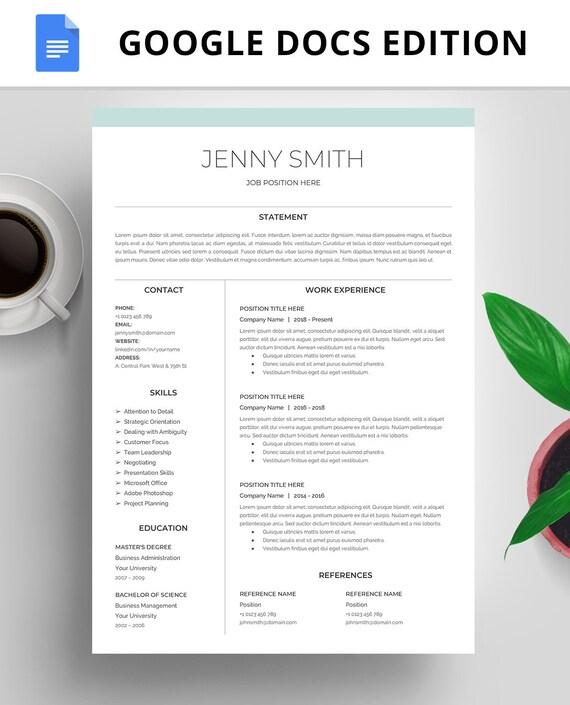 Professional Resume Template Google Docs Instant Download