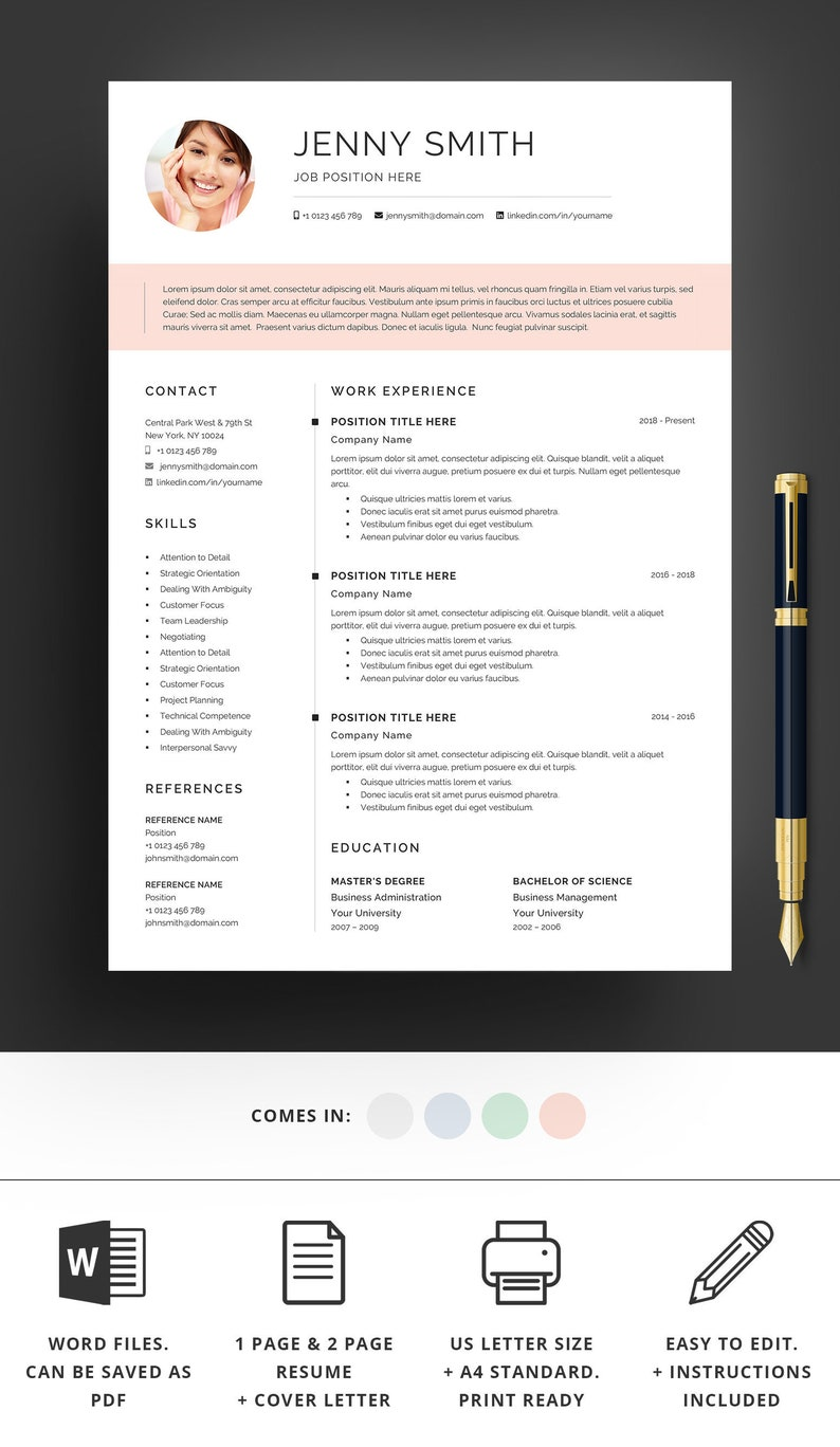 Resume Template Word Professional 1 Page 2