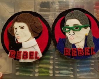 PATTERN: Rebel Leia + Rebel Carrie Fisher Felt Ornament / Wall Hanging