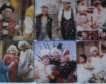 Golden Girls Coasters 1980's 90's TV Show 6 Square Retro Fun Betty White Bea Arthur Unique Gift Hostess Gift Cult Favorite Mother's Day