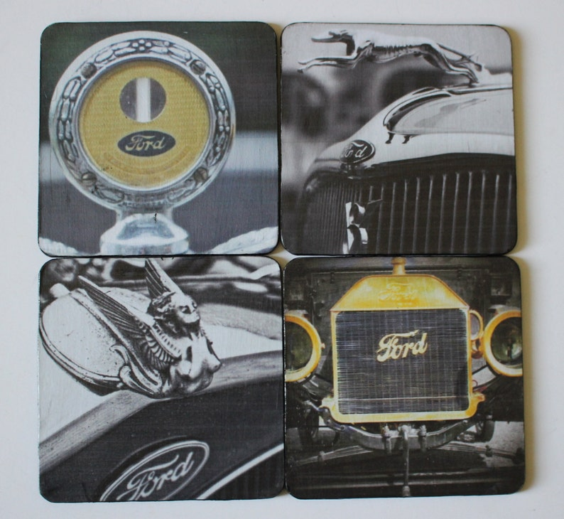 Custom Hood Ornaments >> Vintage Ford Hood Ornaments Coasters Unique Gift Custom Made Etsy