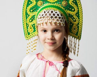 "Headdress Kokoshnik ""Anna"" - Russian traditional Folk Costume"