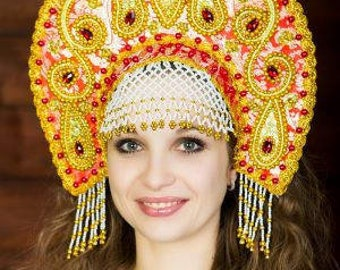"Headdress Kokoshnik ""Tatyana"" - Russian traditional Folk Costume"