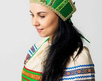"Headdress Kokoshnik ""Marya"" - Russian traditional Folk Costume"