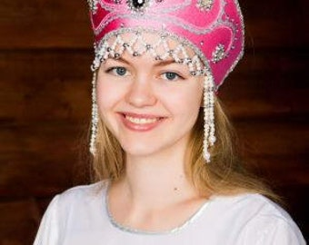 "Headdress Kokoshnik ""Victoria"" - Russian traditional Folk Costume"