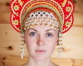 "Headdress Kokoshnik ""Elena"" - Russian traditional Folk Costume"