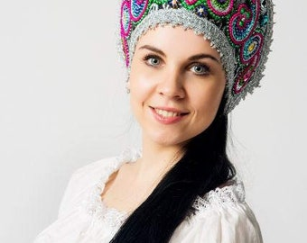 "Headdress Kokoshnik ""Alexandra"" - Russian traditional Folk Costume"