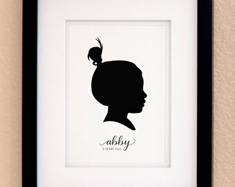 Personalized Silhouette Custom Portrait Print with Personalized Name – Custom Silhouette Portrait – Available in 2 Sizes