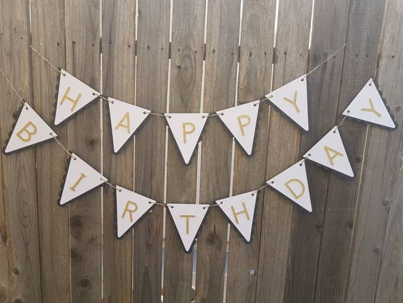 Black White And Gold Happy Birthday Banner Black And Gold Etsy