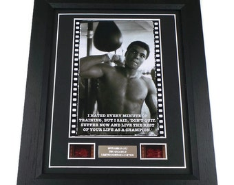 Muhammad Ali Film Cells Boxing Memorabilia Motivational Training Quote Framed or Unframed