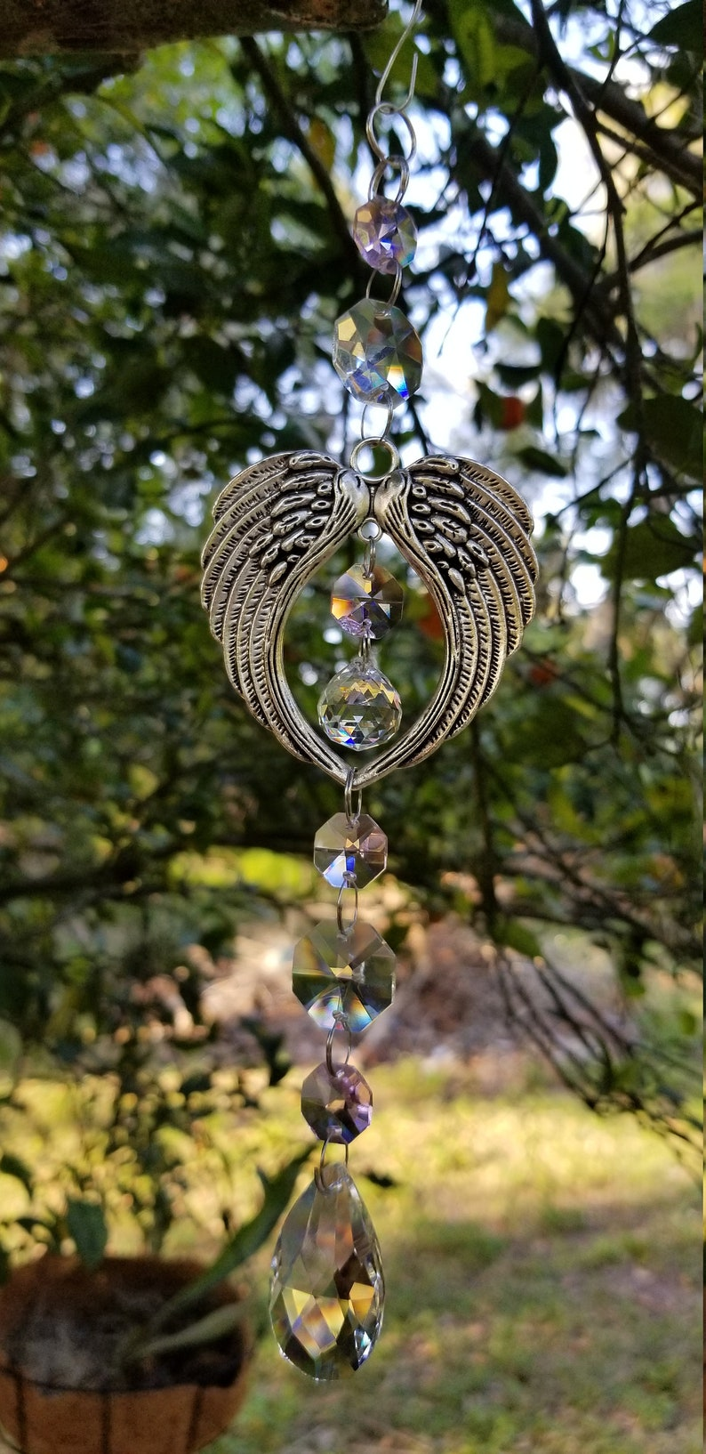 Pink Accented Angel Heart Wings Crystal Suncatcher ~ One of a Kind